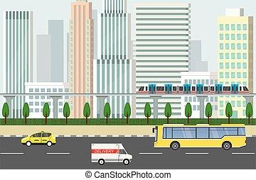 transport commun, gratte-ciel, vue, ville, fond