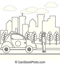transport concept cartoon in black and white