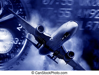 transport concept. Jet aircraft, airport arrival times and a watch