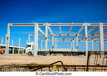 Transport concrete joist in truck trailer to building site