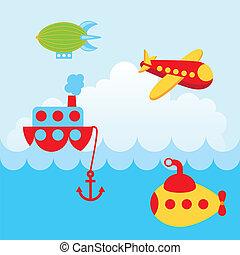 transport design over sky background vector illustration