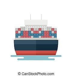 transport, devant, exportation, vue, récipient, logistique, transport, marin, bateau