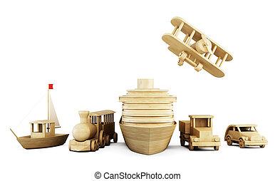transport., differente, set, legno, -, giocattoli, tipi