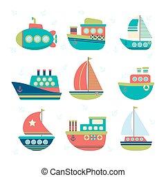 transport., differente, set, tipo, yacht, pesca, mare, barche vela, barche, boats.