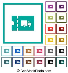 Transport discount coupon flat color icons with quadrant...