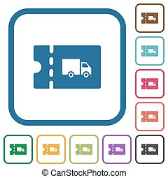 Transport discount coupon simple icons in color rounded...