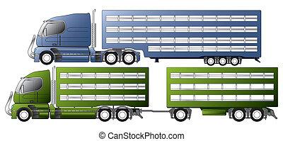 transport, djur, släpvagnen, lastbilar