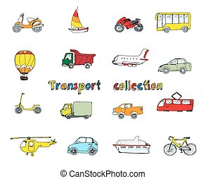 Transport doodle set colored