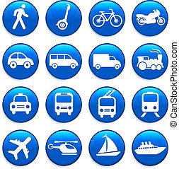 transport, elementer, konstruktion, iconerne