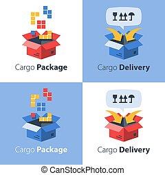transport, expédition, services, envoyer, cargaison, paquet, ordre, livraison