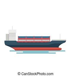 transport, exportation, récipient, logistique, bateau, transport, marin