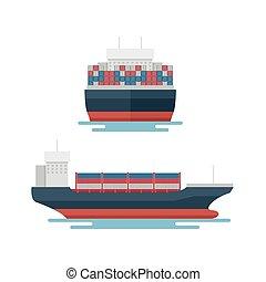 transport, exportation, récipient, logistique, transport, marin, bateau