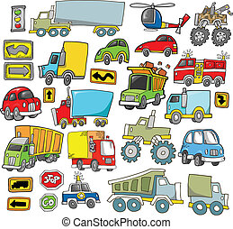 transport, fahrzeug, vektor, satz