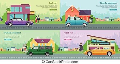 transport., família, ícones, vehicles., carro., fresco