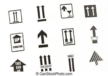 transport, flèche, signes