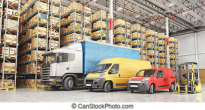 Transport for delivery on a warehouse background. 3d illustration