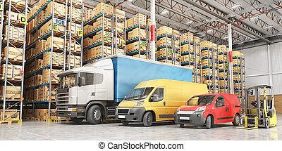 Transport for delivery on a warehouse background. 3d illustration