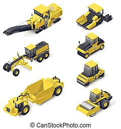 Transport for laying and repair of asphalt isometric icon...