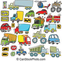 transport, fordon, vektor, sätta