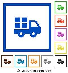 Transport framed flat icons