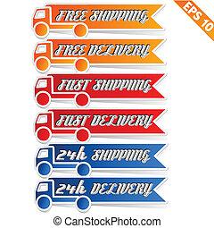 transport, -, gratuite, livraison, vecteur, illustration, logistique, eps10, publicité