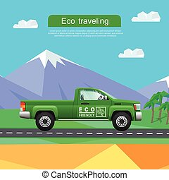 Transport. Green Pickup on Road near Mountains