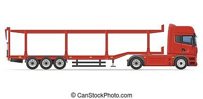 transport, halv-, bil, illustration, vektor, lastbil, släpvagn