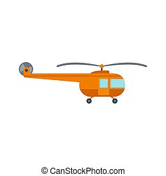 Transport helicopter icon, flat style