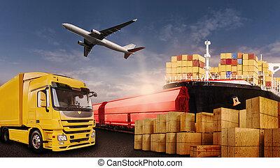 transport, i, goods, af, lastbil, flyvemaskine, skib, og, tog