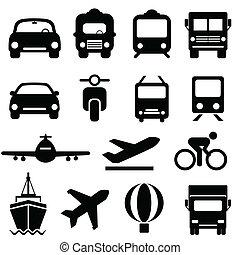 transport, icône, ensemble