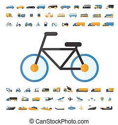 transport, icône, ensemble, véhicule