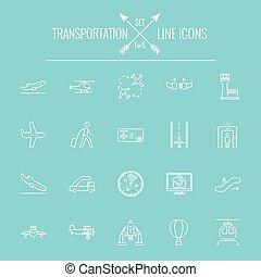 transport, icône, set.