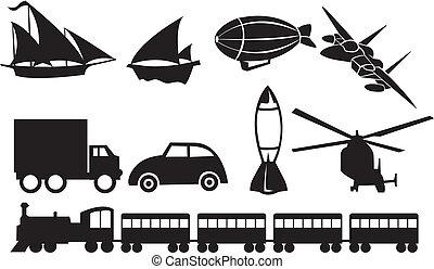 transport, icônes, contre, arrière-plan noir, blanc