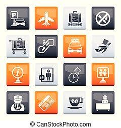 transport, icônes, couleur, sur, aéroport, fond