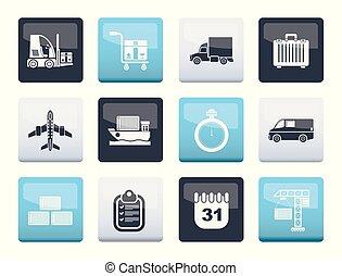 transport, icônes, couleur, sur, expédition, fond, logistique