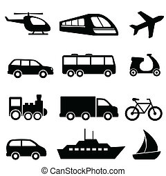 transport, icônes, dans, noir
