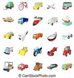 transport, icônes, ensemble, dessin animé, style