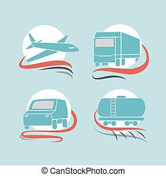 transport, icônes, ensemble