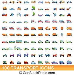transport, icônes, ensemble, style, 100, dessin animé