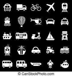 transport, icônes, sur, arrière-plan noir
