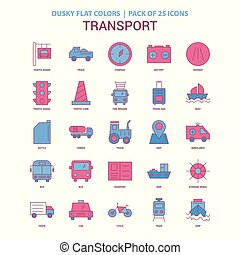 Transport icon Dusky Flat color - Vintage 25 Icon Pack