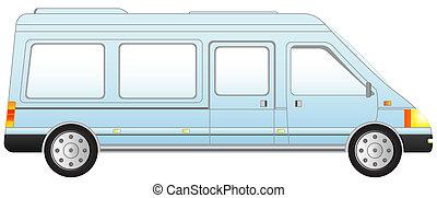 isolated blue mini bus