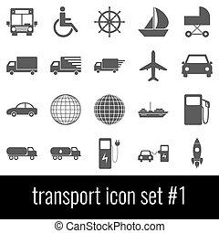 Transport. Icon set 1. Gray icons on white background.