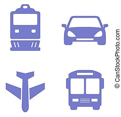 transport icon set with train, plane, car and bus silhouette