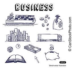 transport, icones affaires