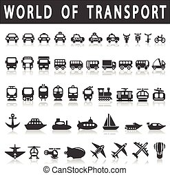 Transport icons: Cars, Ships, Trains, Planes, vector...