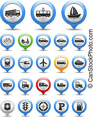 Transport Icons - Collection of map markers with transport...