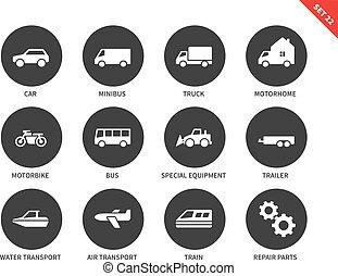 Transport icons on white background
