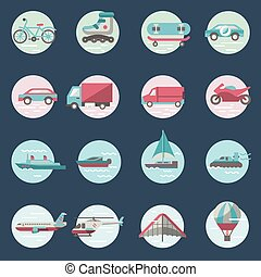 Transport icons round set