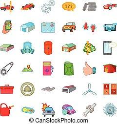 Transport icons set, cartoon style